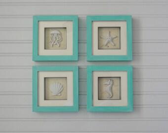 Set of 4 Shadow boxes. Jellyfish, Seahorse, Starfish and Scallop. Beach Decor. Nautical Decor. Coastal Decor. Seashell Decor. Sea Shell