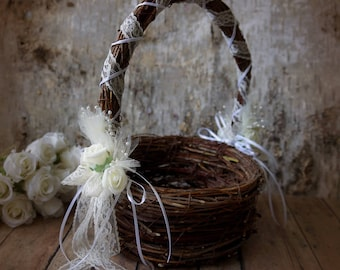 Wedding  Flower Girl Basket Rustic Wedding Decoration