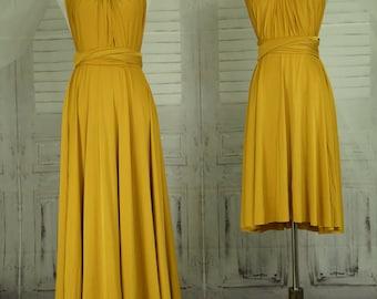 Mustard dress,Bridesmaid Dress , Infinity Dress,Wrap Convertible Dress.Party dress-B47#C47#