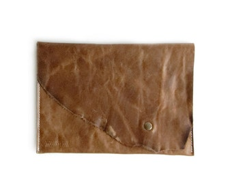 Brown Leather Clutch, Wild Chestnut, Dark Brown Leather Etui, Flat Leather Purse, Leather Collection Pochette Cuir Marron