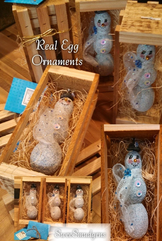 Whimsical real egg snowman Christmas ornament cottage chic unique country home decor handmade hand painted blue white sparkling cute snownan