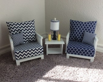 Sitting Room Collection -  Navy Blue - 4-piece Set: Chairs, End Table, Lamp  – American Girl-friendly