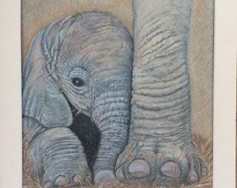 ELEPHANT & BABY Original artwork by Tracey Bryant