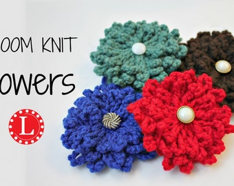 Loom Knitting PATTERNS for Flowers with Step by Step Video Tutorial