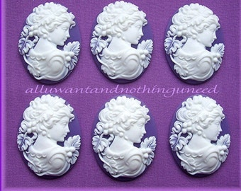 6 White Color on Purple Lavender CAMEOS Demeter Goddess of the Harvest Cameo with Grapes 25mm x 18mm Resin Cameos to Make Costume Jewelry