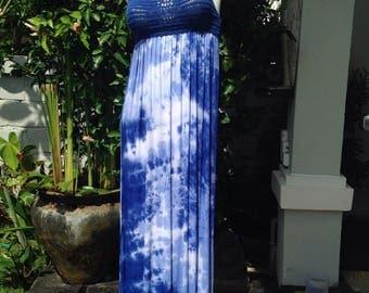 Crochet and rayon maxi dress