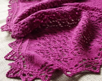 "Lace shawl knitting pattern with cable trim ""Melancholy Shawl"""