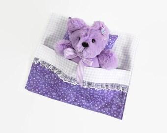 Kayla- Plush Purple Teddy Bear with sleeping bag, stuffed teddy bear in a bed, bedtime bear, stuffed animal, plushie bear doll, gift for her
