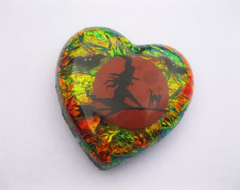 Shimmering Rainbow Witch Magnet