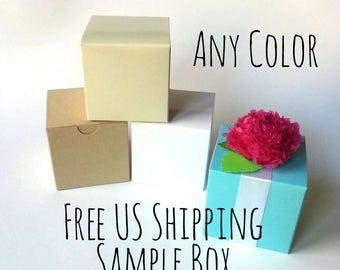 "FREE SHIPPING Sample Box Of Any 2x2x2"" or 3x3x3"" Box: Robin's Egg Blue, Silver, Ivory, White, Kraft, Navy, Fuschia, Brown, Clear, Black"