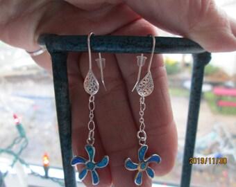 """Handcrafted Blue Fire Opal Flower Dangle Sterling Silver 925 Filgiree Ear Wires Earrings, 2 1/8"""" Long, Wt. 4 Grams"""