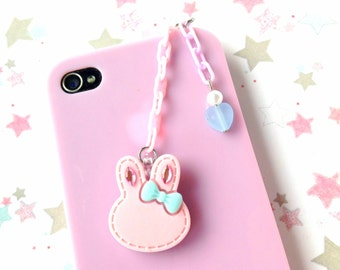 Pink Rabbit Earphone Jack Plug, Pastel Bunny Cellphone Charm, Pastel Chain, Rhinestone Bunny Dust Plug, Sweet Pastel Colors, Cute Ipod Charm