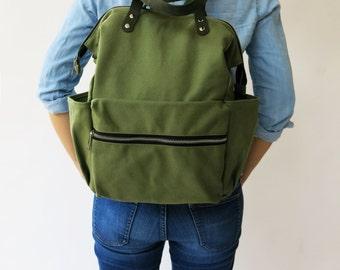 SALE 15% Olive Green Diaper Backpack bag , green Bag, Canvas backpack , Diaper,  Laptop bag School bag, Diaper Backpack