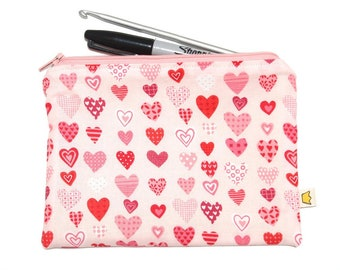 Heart notions pouch or pencil case, pink zipper pouch make up storage