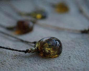 Amber Simple Necklace with Brass beads