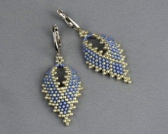 Dainty earrings blue earrings birthday gifts for sister beaded dangle earrings large earrings romantic earrings seed bead jewelry beadwork