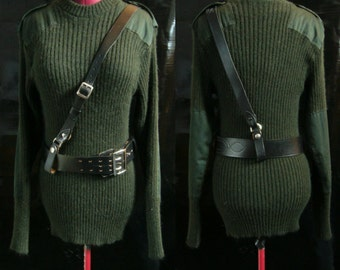 Military Wool Sweater with Leather Belt