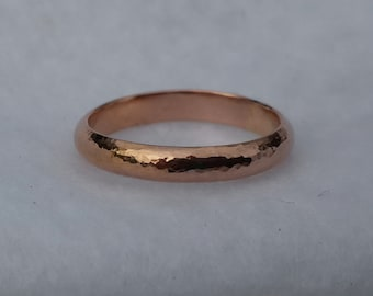 14K rose gold filled hand forged wedding band, simple hammer textured organic pink gold stacking ring, 3.3mm organic band, Alabama goldsmith