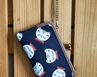 Cell phone handbag / handmade frame pouch / frame purse / kiss lock purse ~ Mr. Cat