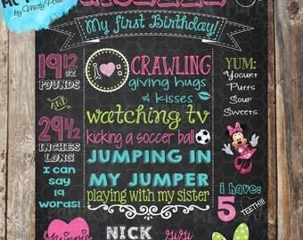 Minnie Mouse Printable Birthday Chalkboard Sign - YOU PRINT