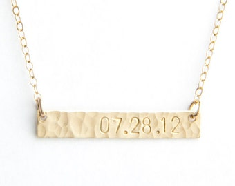 "Classic Date Bar Necklace- Hammered, 1.25"", Personalized, Gold Filled, Sterling Silver, Rose Gold Filled"