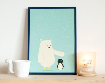 Penguin and Bear  best friends - Nursery Print - Giclee Art Illustration