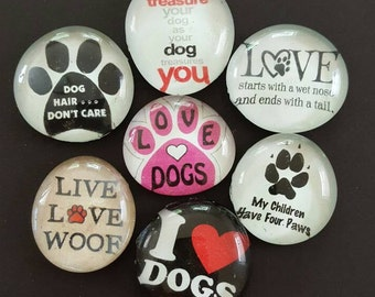 Set of 7 Strong Glass Magnets, Dog Lover Magnets, Paw Print, Refrigerator Magnets, Fridge Art, Kitchen Office Decor, Gift Idea Pet Lover