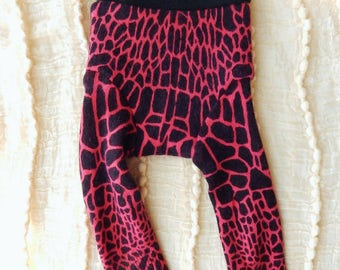 Hot Pink & Black Giraffe Cashmere Longies - SMALL