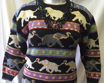 Christine Foley Elephant Motif Sweater