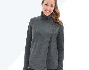 Tallinn Sweater, womens knit turtleneck cowl neck cross over asymmetrical hem pdf sewing pattern