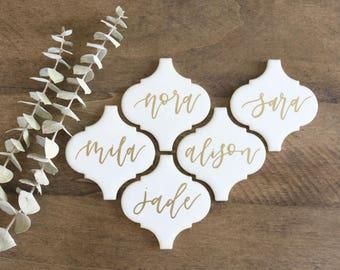 custom calligraphy white arabesque tiles // lantern tile | wedding place cards | seating cards | escort cards