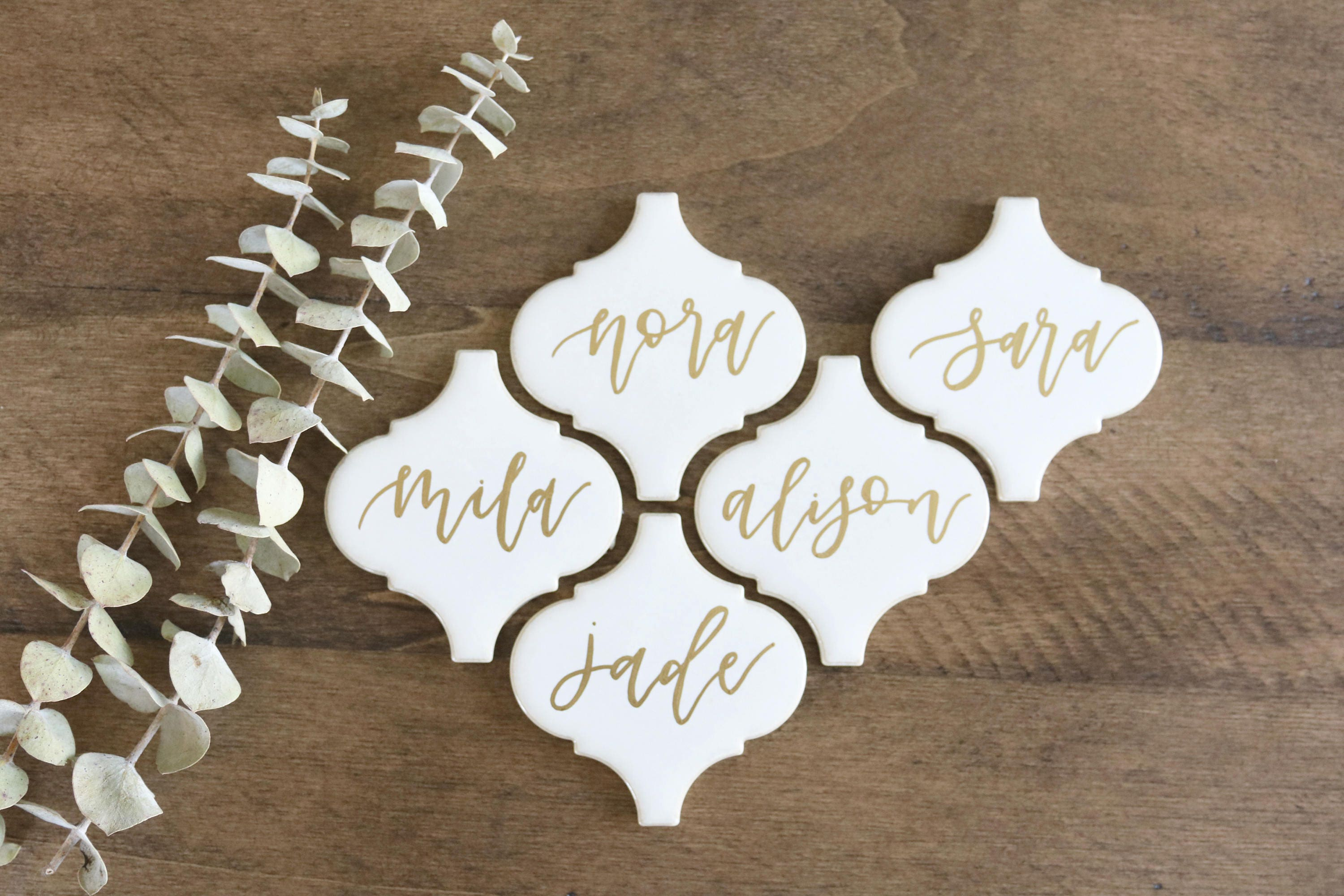 custom calligraphy white arabesque tiles // lantern tile | wedding place cards | seating cards | escort cards