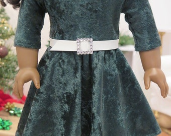 18 Inch Doll Knit Circle Dress - Green Velvet Doll Dress - Holiday/Winter Doll Dress - 18 Inch Doll Clothes -American Made Girl Doll Clothes