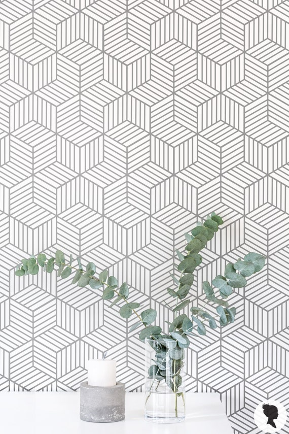 Removable Wallpaper Cube Pattern Geometric Wallpaper