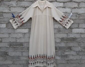 Vintage Kaftan Dress Hopi Inspired Native American 1970s Southwestern sz Large Women Clothing