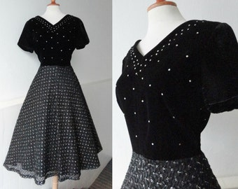 Black 40s Vintage Dress With Silver Lace Taffeta Skirt And Velvet Top With Rhinestones