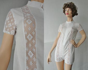 White Hand Made Vintage Romper With Lace
