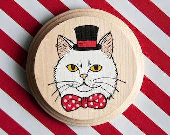 Bow Tie Cat mini painting on wood