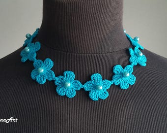 Crochet Necklace,Crochet Neck Accessory, Aquamarine Color, 100% Cotton.