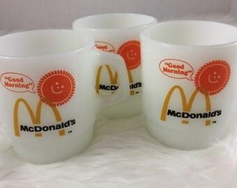 Vintage McDonalds Fire King Stacking Coffee Mugs 3 Anchor Hocking Morning Sun