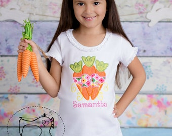 Girls Easter Shirt, Girls Easter Clothing, Carrot Trio Personalized Shirt, Easter Personalized Shirt, Embroidered Applique Shirt or Bodysuit