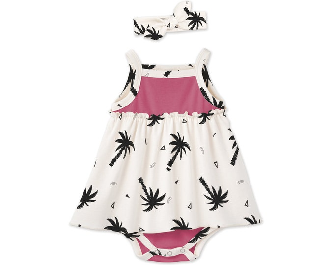 SUMMER SPECIAL! Baby Girl Summer Dress, Newborn Girl Coming Home Outfit, Newborn Girl Outfit Summer, Baby Bodysuit Palm Trees BH51CFUTC0000