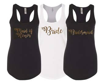 Bridesmaid Shirts, Maid of honor shirt, Tank Tops, Bridesmaid Gift, Wedding Tank Tops,Bachelorette Party Shirts, bridesmaid tanktops