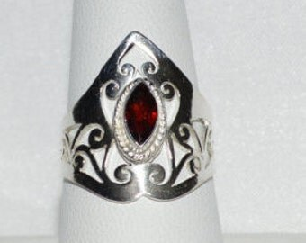 Natural .70 ct. Red Garnet in .925 Sterling Silver