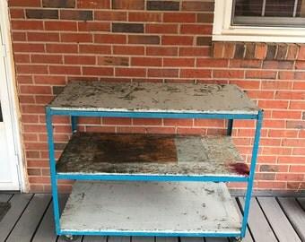 Vintage Steel Cart Wood Shelves Industrial Factory Cart Old Blue Paint Rustic