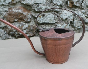 Vintage German Copper Watering Can Sturdy Unrenovated Kupfer Copper Cuivre Watertight Water Can Plant Waterer