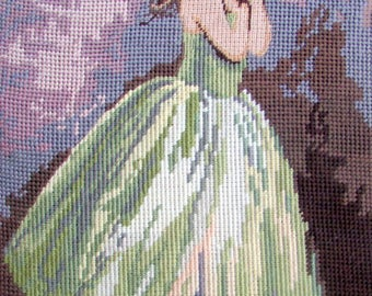 """FINISHED NEEDLEPOINT CANVAS//""""Ballerina""""by Seg de paris/a Vintage Hand Made Needlepoint/a Young Ballerina.//Material Only Was//(100.00) Now!"""