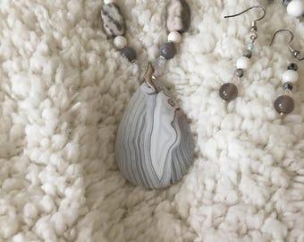White Onyx Pendant and Earring Set