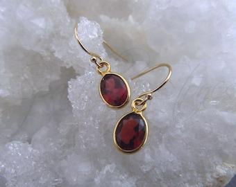 Garnet Earrings, Garnet Dangle Earrings, January Birthstone, Red Gemstone Earrings, Small Oval Garnet Gold Earrings
