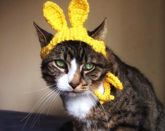 Halloween Costume Easter Bunny Hat for Cat Crochet Yellow Costume Hat for Cat Unique Handmade Pet Accessories